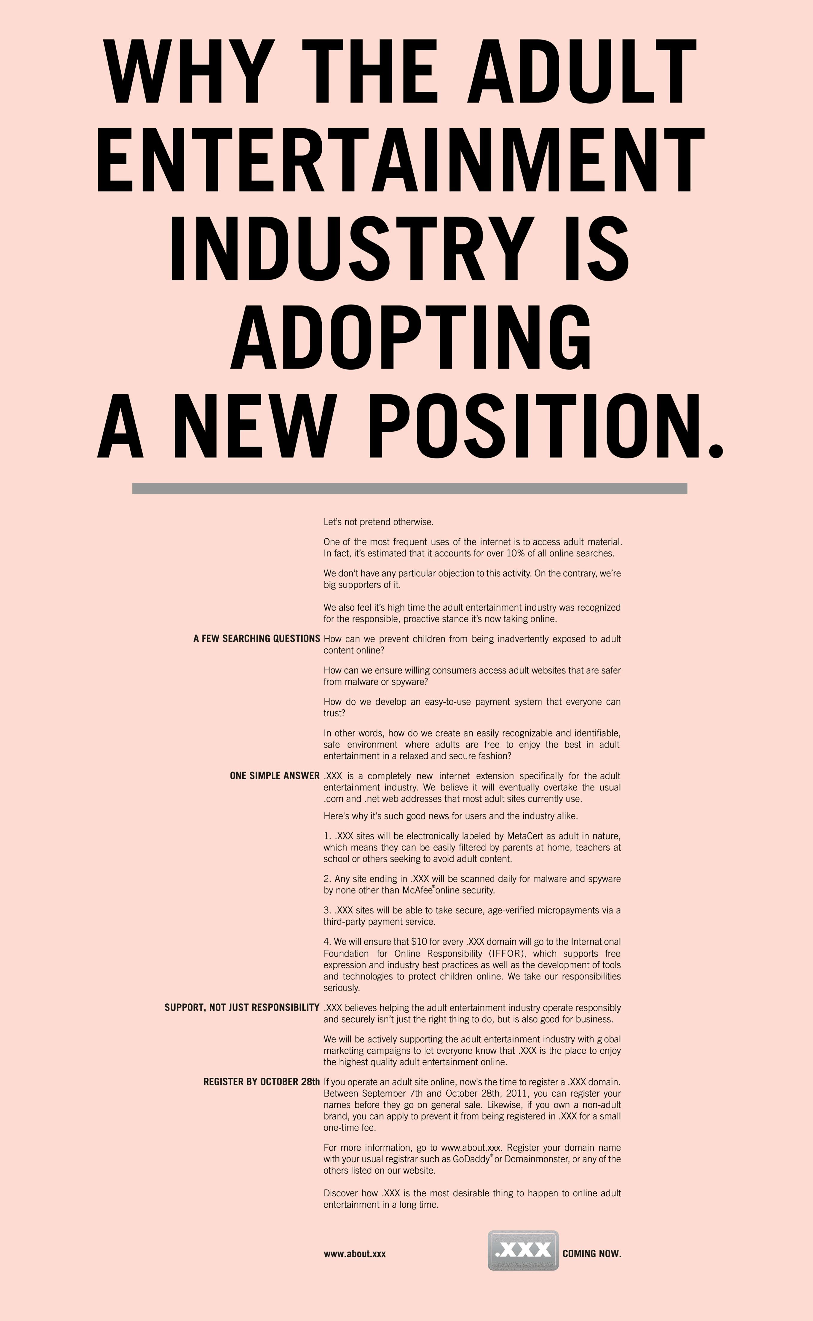 XXX.com - Adopting a New Position