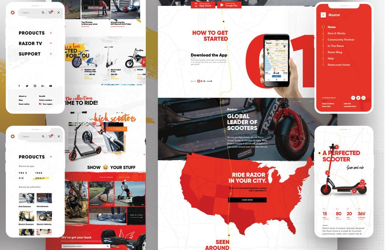 Razor USA - Ecommerce & Video Experience Website