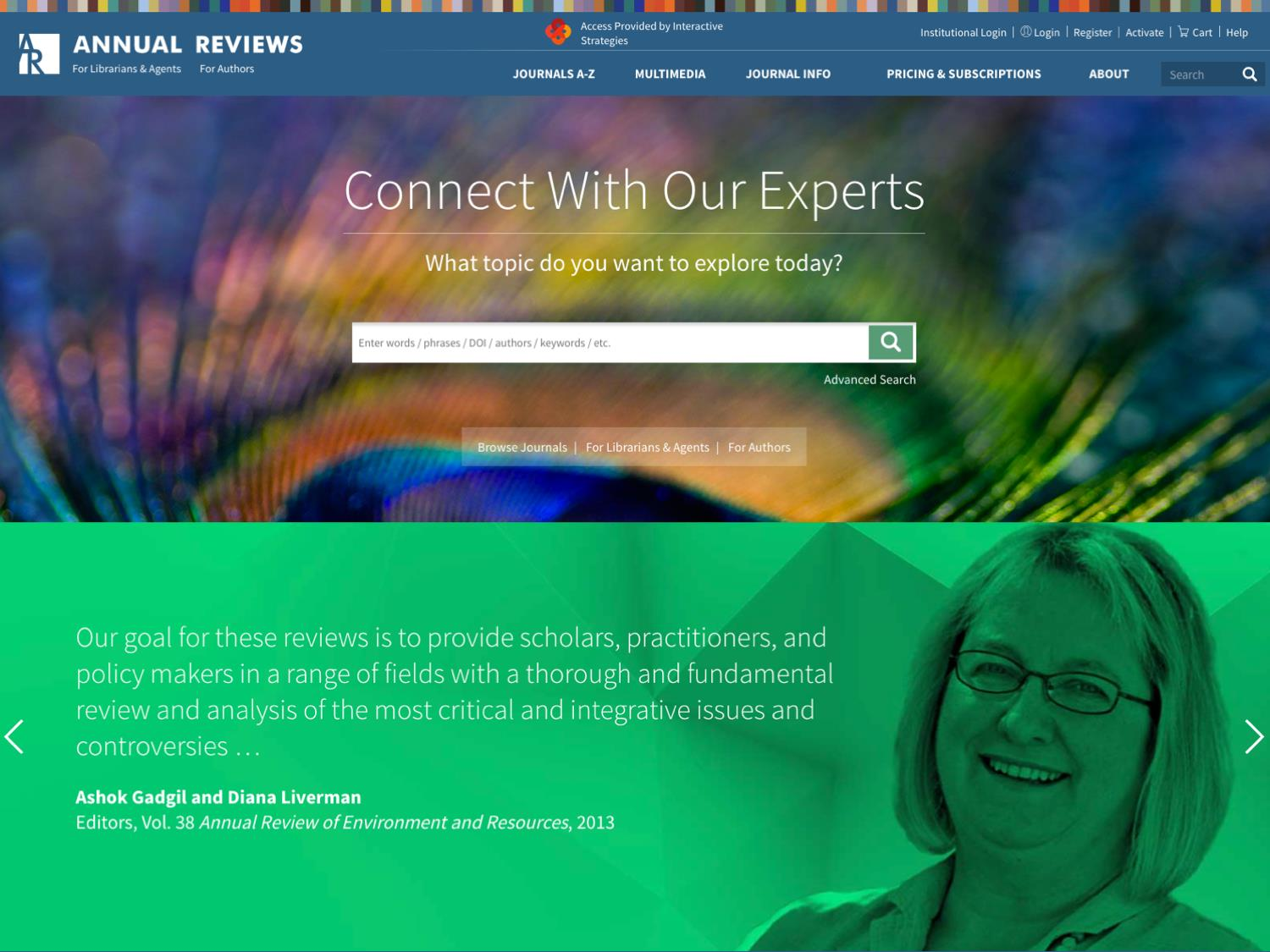 Annual Reviews Website Strategy, Design and Development